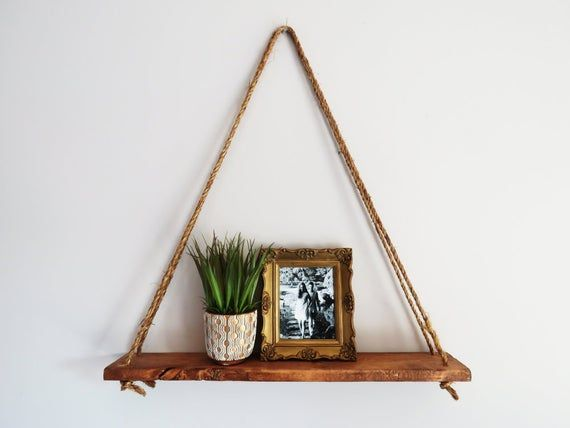 Triangle Hanging Shelf • Succulent Shelf • Wall Decor • Rope Shelf • Knick Knack Shelf • Rustic Home