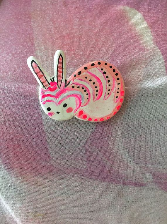 Kawaii Hand painted Pink Bunny Brooch!   Rabbit Pin