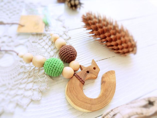 Pram Toys – Nursing/teething necklace with wooden toy / 038 – a unique product by Natalia-Tischenko on DaWanda