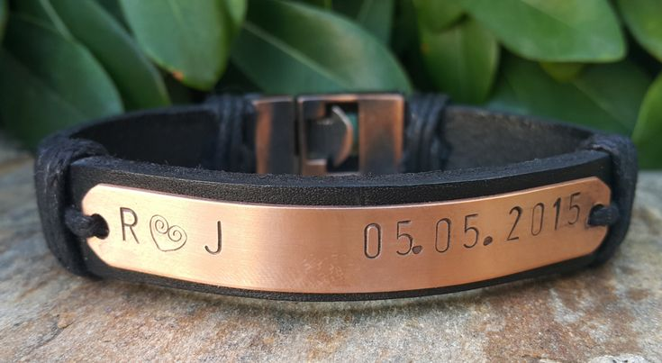 Personalized Mens Leather Bracelet, Copper Plate Stamped Bracelet, Copper Anchor Clasp, Customized Gifts for Him, Husband, Boyfriend, Dad by Braceletshomme on Etsy