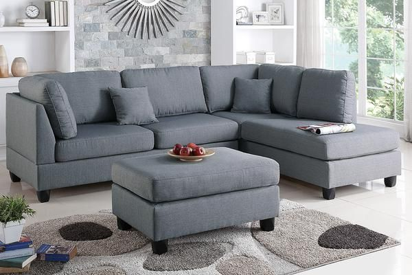 Elegant Lola Sectional With Ottoman Grey | Dox Furniture