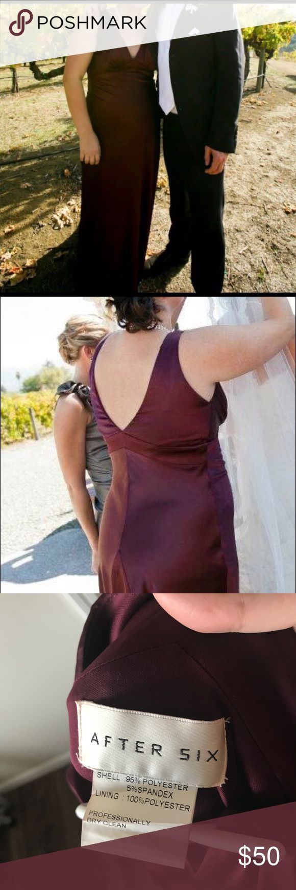 Satin v-neck gown. Size 16L. Color Bordeaux. Worn once as a bridesmaid. Brand After Six, size 16 L and hemmed. Beautiful color and fabric for formal party. Comes from a smoke free home. After Six Dresses Wedding
