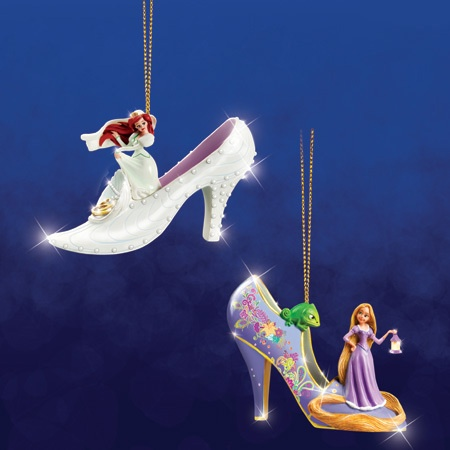 Disney's Once Upon a Slipper Ornaments - Ariel and Rapunzel Shoe Figures!Christmas Time, Slippers Ornaments, Christmas Stuff, Disney High Heels Ornaments, Rapunzel Shoes, Christmas Decor, Disney Shoes Ornaments, Christmas Ornaments, Slippers Ariel