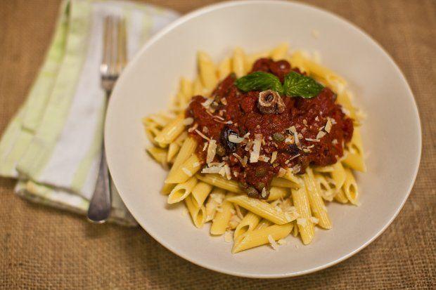 ... then puttanesca roasted vegetarian puttanesca sauce pasta puttanesca