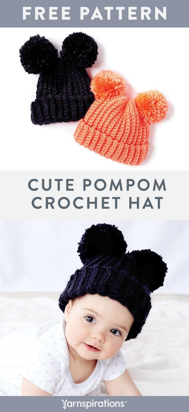 Enormes pompons inchados criam um divertido, orelhas de animais neste chapéu de crochê, feito com ...