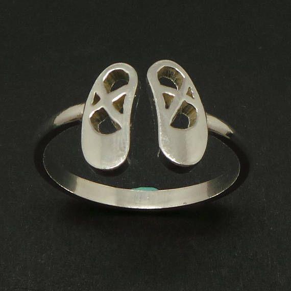 Silver Ballet Shoe Ring  Ballet Shoe Jewelry Dance Jewelry