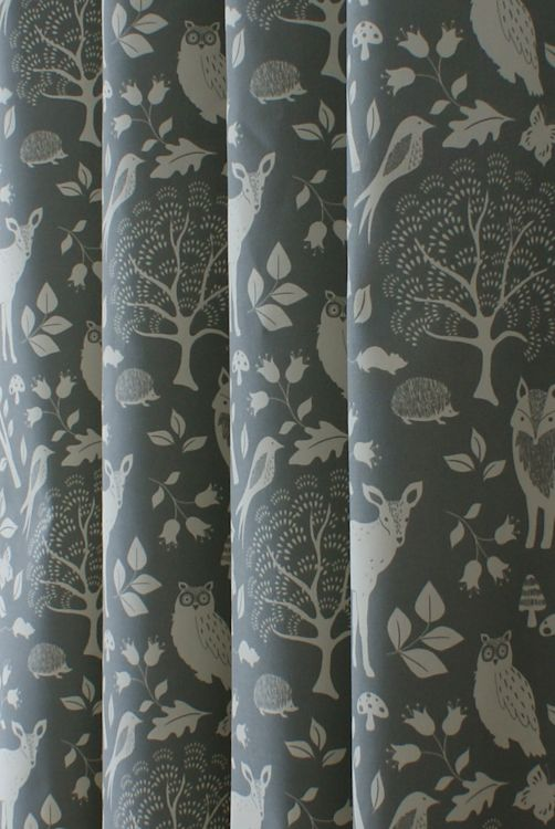 Woodland Charcoal Made to Measure Curtains