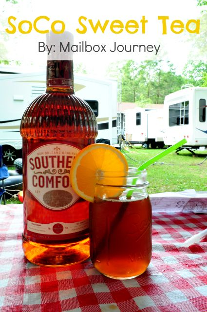 Southern Comfort Sweet Tea - 3 tablespoons Southern Comfort, 1 cup Sweet & Sour Mix, 1 cup Sweetened Tea, and a splash of Cola (***)