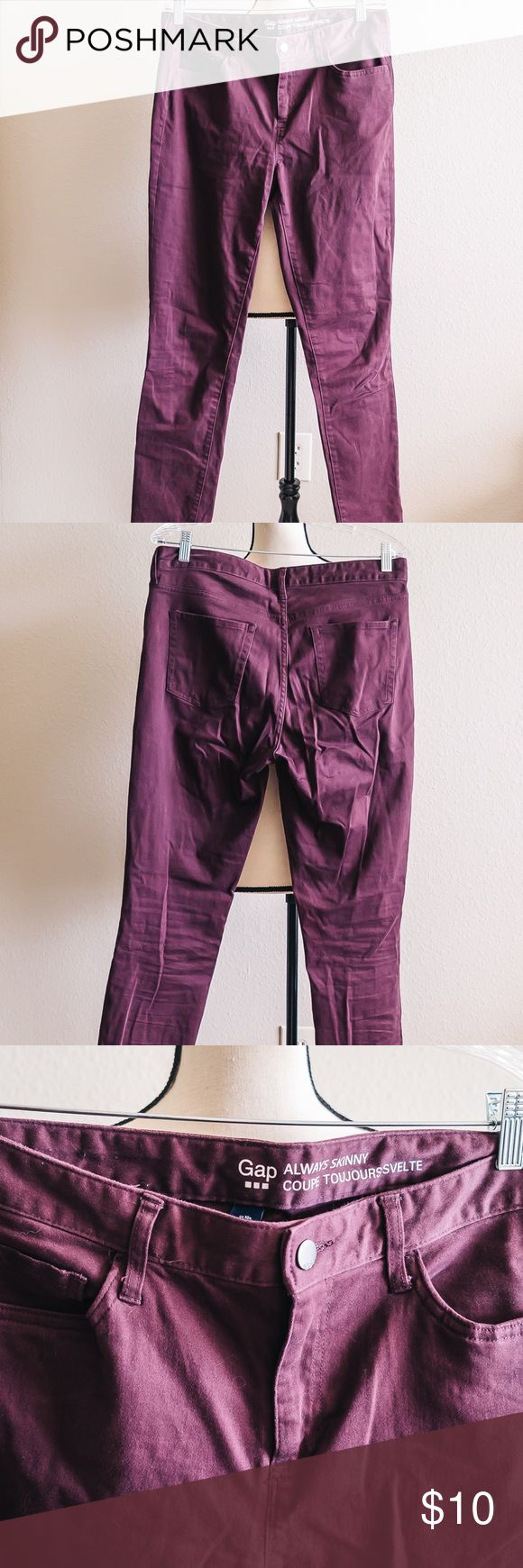 """Women's GAP Purple Always Skinny Pants - Size 10 Women's purple Always Skinny pants by GAP. Only worn a couple of times and in great condition! Length: 40"""", Waist: 32"""", Hips: 40"""" GAP Pants"""