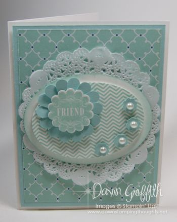 handmade card ... layering ... Pool Party (aqua) ... doily ... oval die cuts ... lovely card!! ... Stampin' Up!