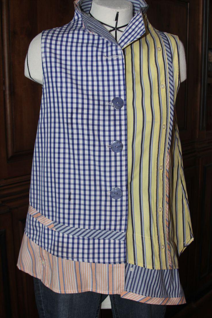 Recycled Men's Dress  Shirt - Butterick pattern #5891 by Katherine Tilton