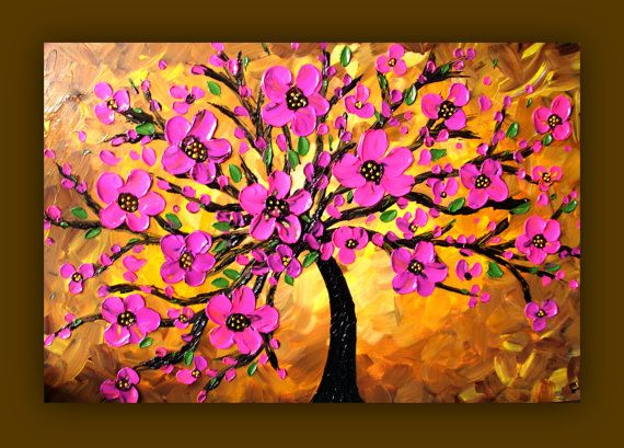 Pink flower painting pink tree painting textured for Simple flower painting ideas