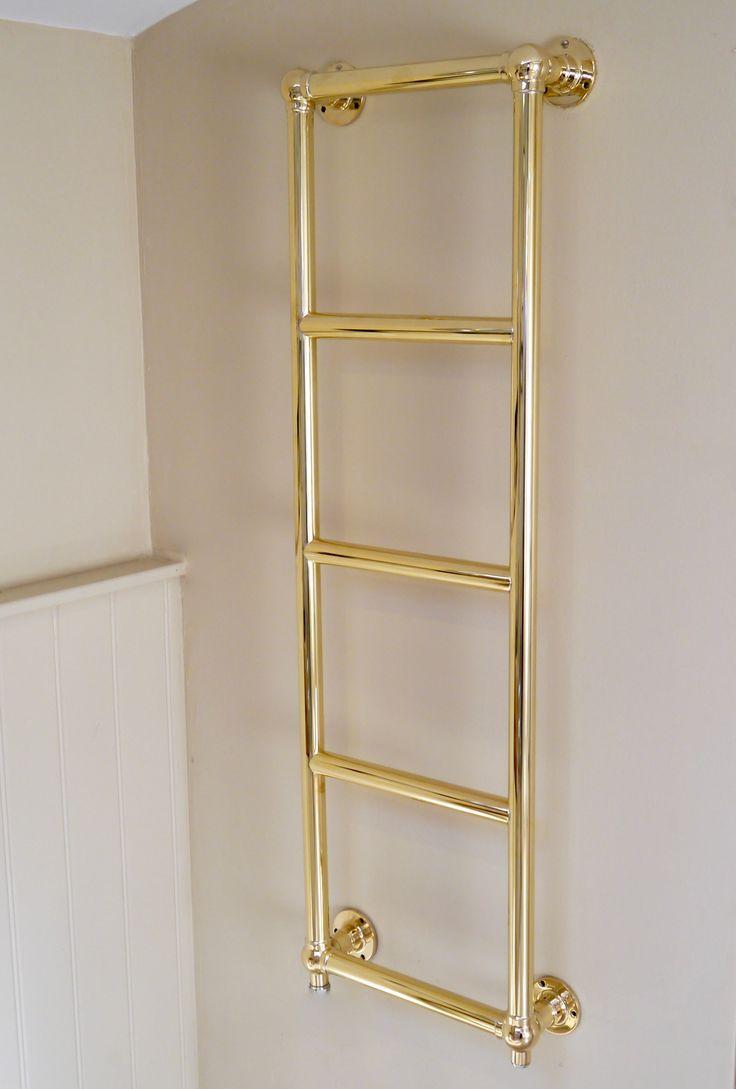 Bathroom radiators towel rails it is represent classic rectangular - Brighton Wall Towel Rail In Hand Polished Brass Finish Towelrail Brassrail Heatedrail