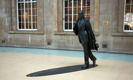 Philip Larkin's statue on the railway station concourse at Hull. The 'grumpy' poet has become synonymous with the city. Photograph: Alamy