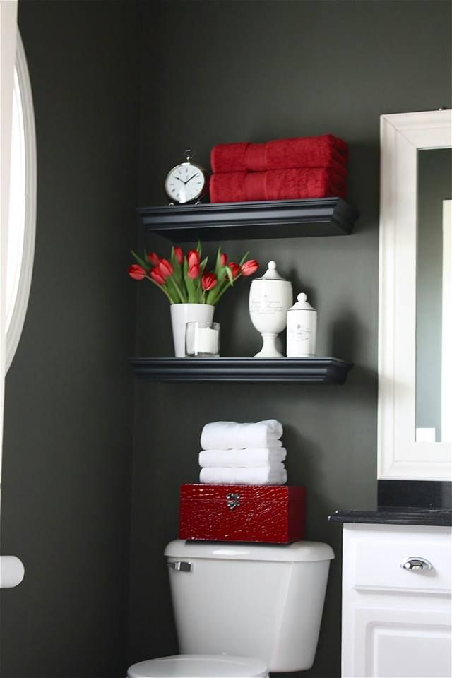 love the moody walls and pops of red