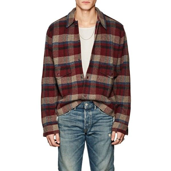 RRL Men's Plaid Wool-Cashmere Club Jacket ($795) ❤ liked on Polyvore featuring men's fashion, men's clothing, men's outerwear, men's jackets, red, mens jackets, mens plaid jacket, mens plaid wool jacket, mens wool jacket and mens wool biker jacket