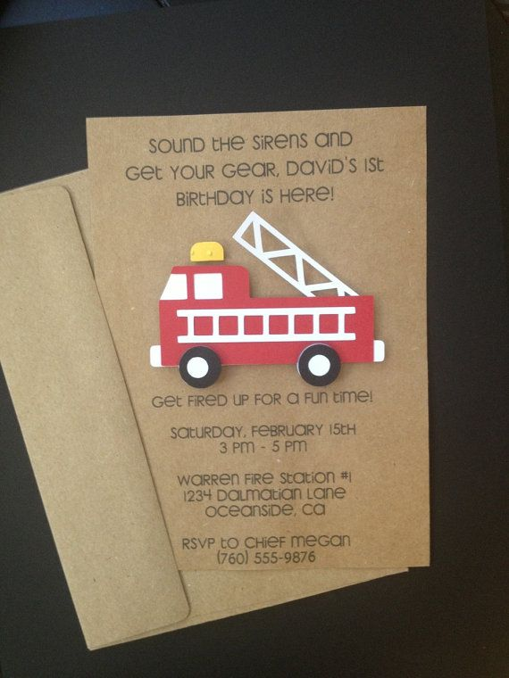 Fire Truck Invitations Custom Made for Kid's Birthday Party or Baby Shower on Kraft Paper, Set of 8 Cards