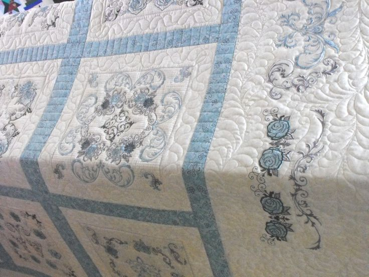 "quilts with embroidered blocks | Charm & Grace"" - Customer Quilt"