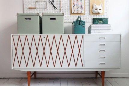 god-ide måla om möbler med mönster med hjälp av tejp