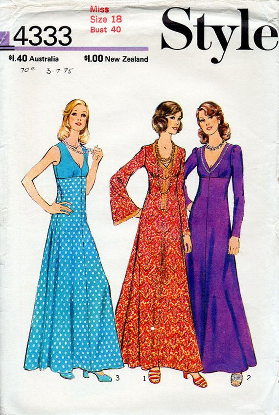 1970s boho maxi dress pattern style 4333 vintage sewing for Empire waist wedding dress patterns