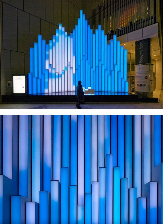 "Tokyo-based Torafu Architects created the ""Crystal Aqua Trees"", an interactive Christmas lights installation for the outdoor event space of the Sony Building in Ginza, Japan."
