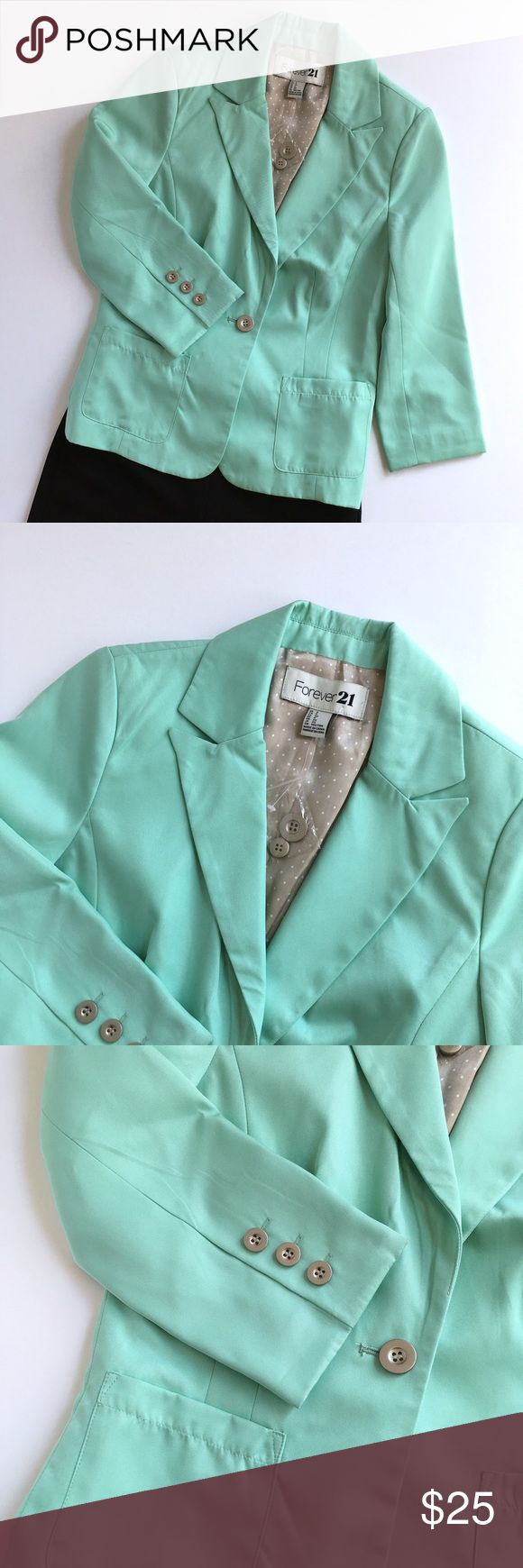 Forever 21 Mint Green Blazer *NEW without tags. Forever 21 Mint Green Blazer with 2 front pockets and polka dot lining. Forever 21 Jackets & Coats