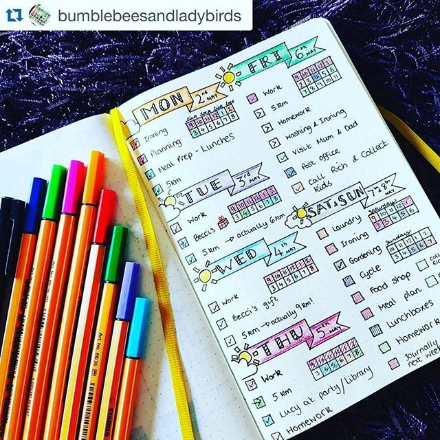 This #weeklyspread from @bumblebeesandladybirds is totally impractical for me to actually use, but it might be the MOST beautiful layout I've ever seen. No, really. ・・・ This layout has worked really well for me this week! Think I might set up a similar for next week