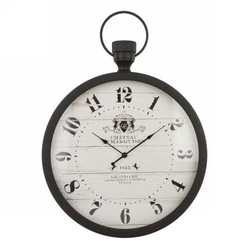 Dark brown metal wall clock