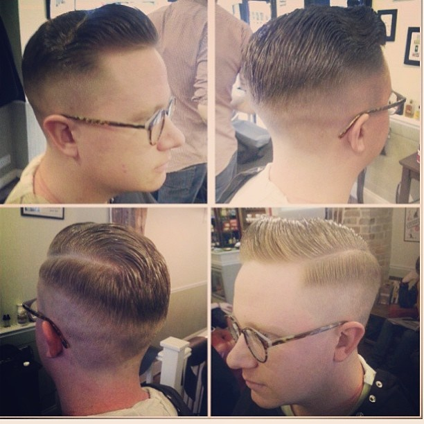 Slick side parting pomp by @colinxcooper #barber #stalbans #alternativebarberingco #menshair #mensfashion #pomp #pomade #rockabilly  #shine #smart #slickback #sideparting #layrite #barbershop #barbertraining