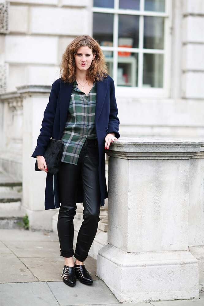 Women's Navy Coat, Dark Green Plaid Button Down Blouse, Black Leather  Skinny Pants, Black Cutout Leather Ankle Boots