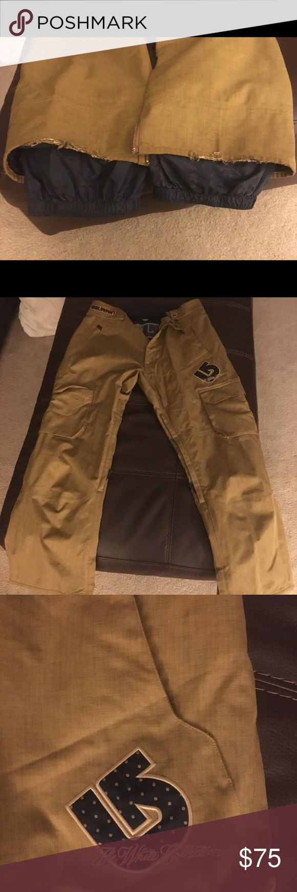 Burton Snowboard pants Sean white collection Burton snow board pants. Fraying on back of pants but otherwise great condition. Size Large. Burton Pants
