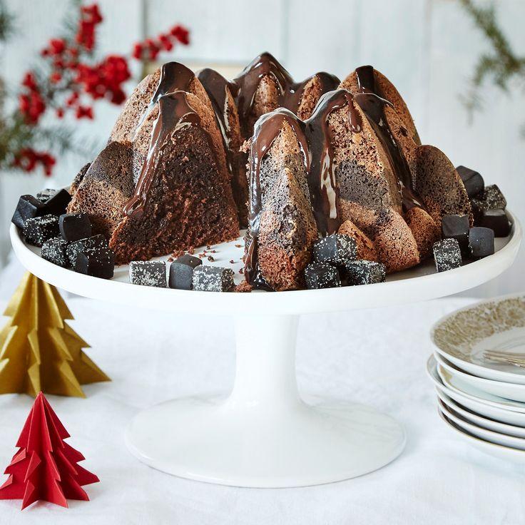 Suklaa-lakutiikerikakku | K-ruoka #joulu #suklaa #lakritsi