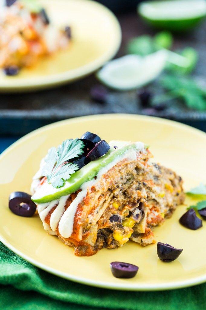Stacked Enchilada Pie + 9 Vegan Cinco de Mayo Recipes -