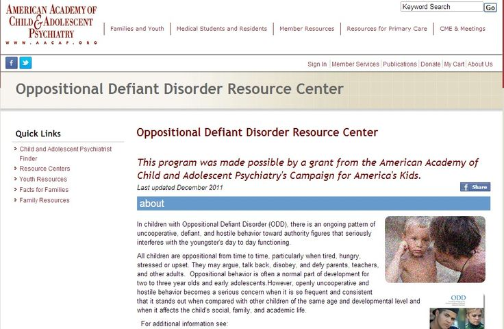 Oppositional Defiant Disorder Resource Center American ...