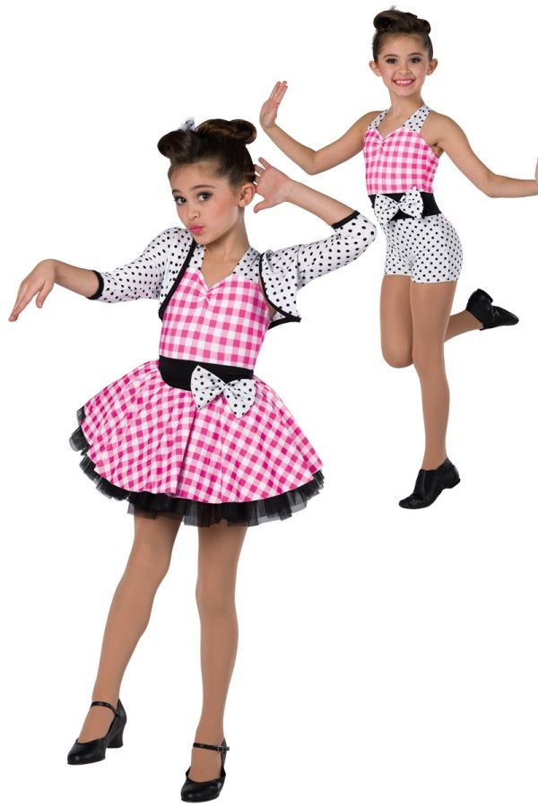 Style# 17138 IT'S MY PARTY (2 IN 1) Pink gingham and polka dot printed spandex halter short unitard with black spandex insert. Separate matching jacket and skirt with attached black chiffon tutu. Bow trim. Headpiece included. XSC-XXLA