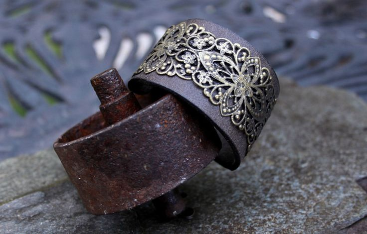 Filagree Leather Cuff Bracelet by ShopPrettyPatina on Etsy