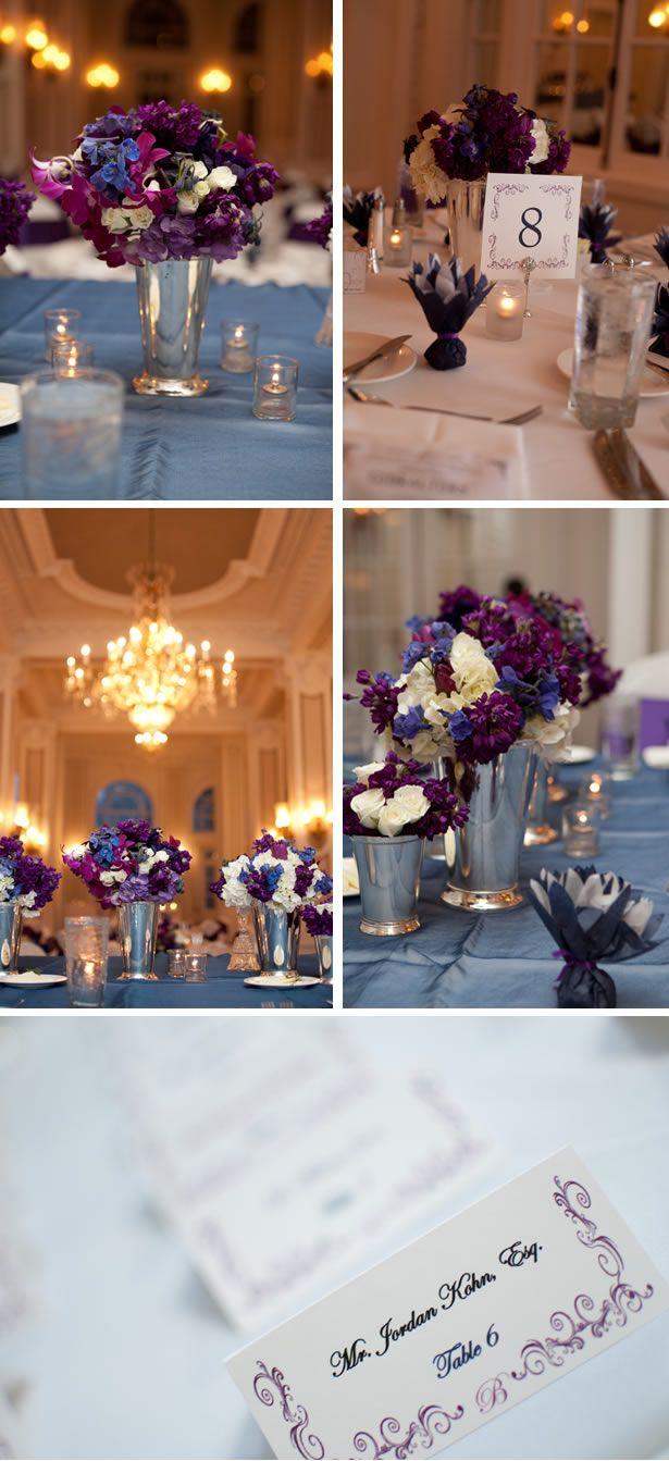 black white purple wedding reception%0A Love the purple blue floral combos