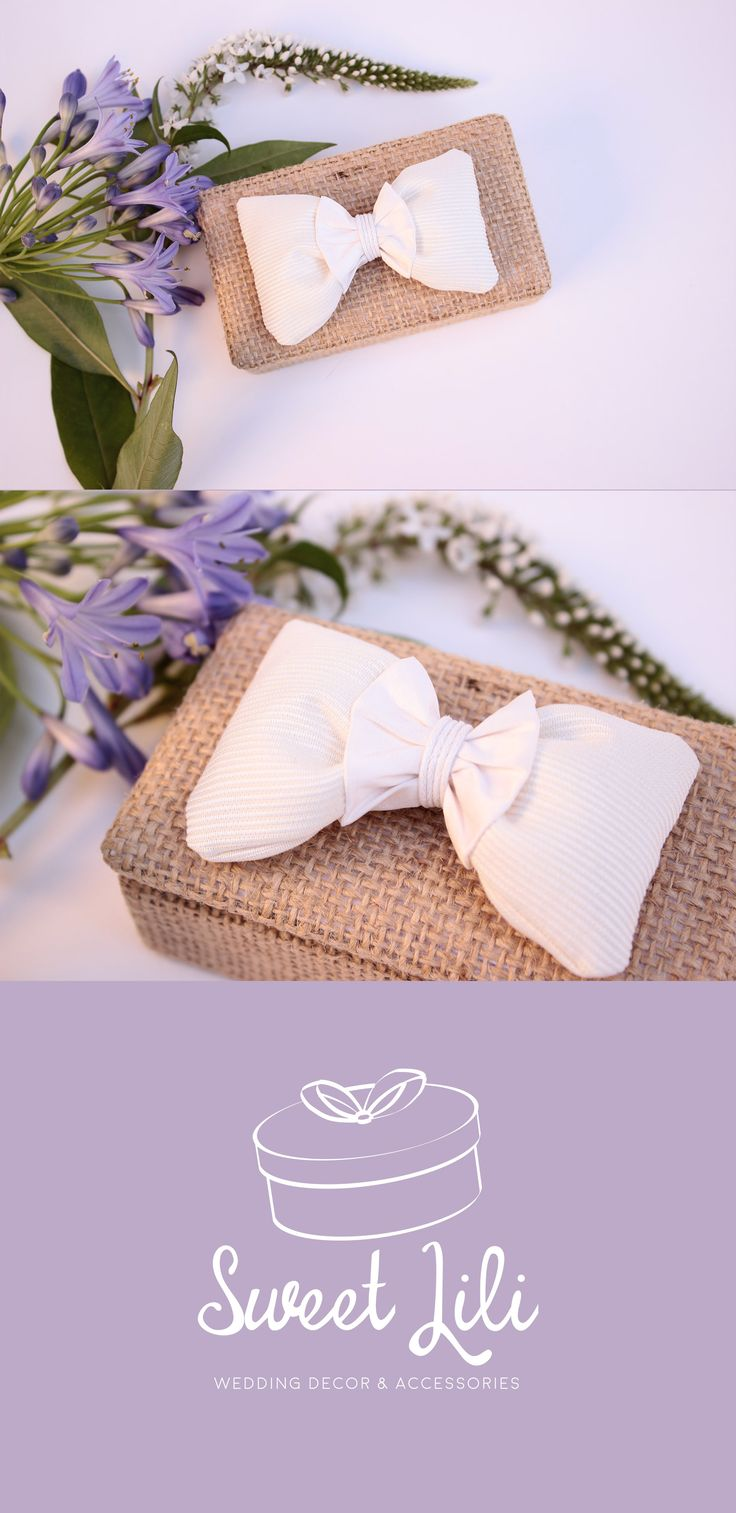 [#Wedding] Handmade ring bearer box, burlap and a white bow. Perfect for a country chic wedding theme.