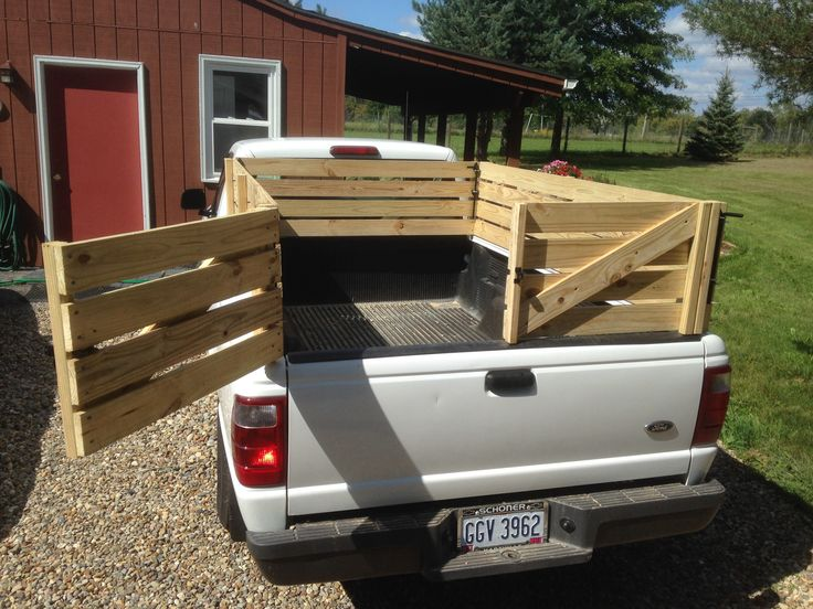 Wooden stake sides for a pickup truck. Small livestock, hay or whatever.