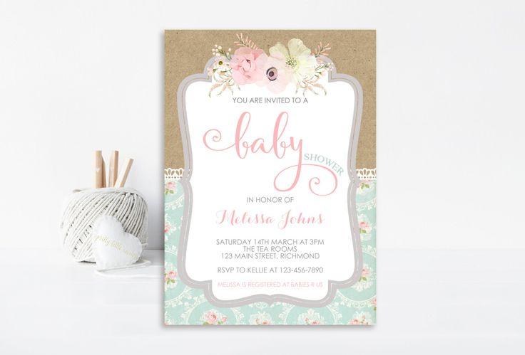 Shabby Chic Baby Shower Invitation, Girl Baby Shower Invitation, Printable Invitation, Vintage Invitation, Shabby Chic Invitation, Lace by PrettyLittleInvite on Etsy https://www.etsy.com/listing/262203045/shabby-chic-baby-shower-invitation-girl