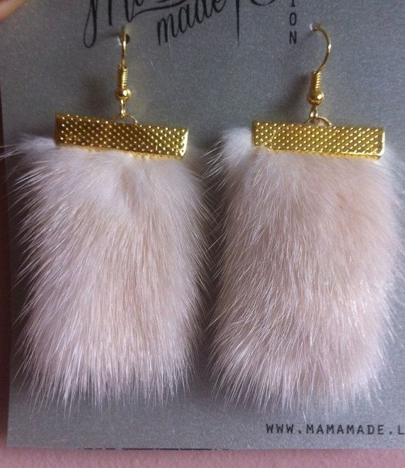 creamy mink fur earrings for every day by MamaMadelt on Etsy