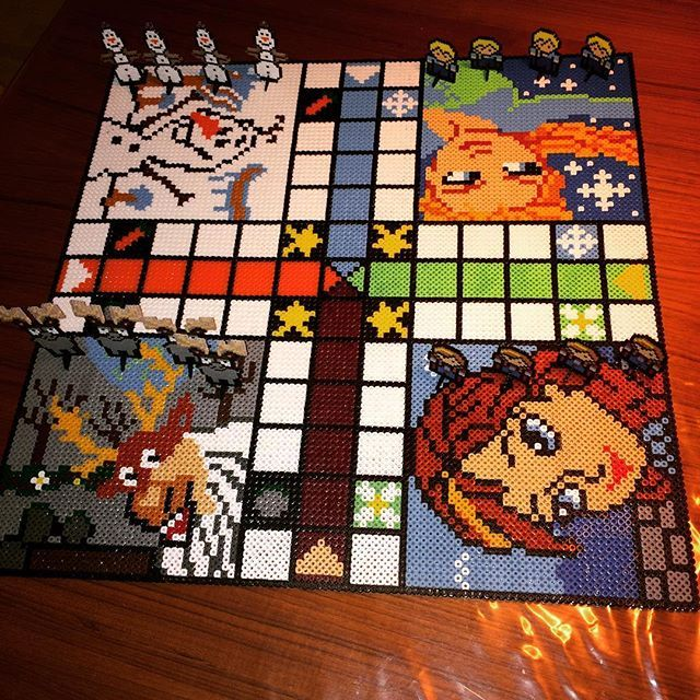 Frozen ludo board game hama beads by martin_ostergaard