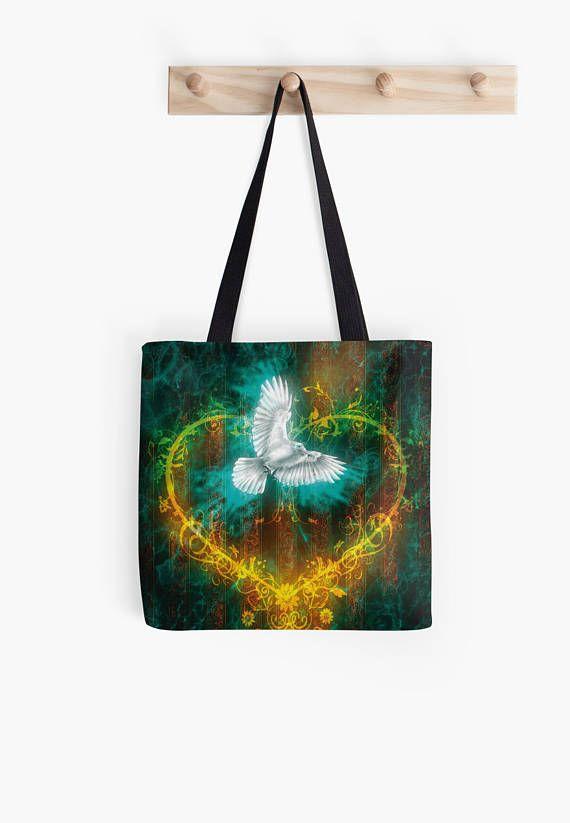 White crow heart tote bag summer tote bag small tote bag