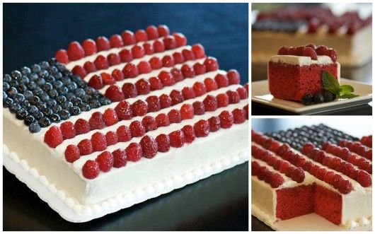 Flag Day cake blue berries and either straw berries or rasberries