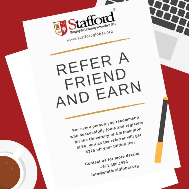 Refer a Friend and Earn!  Having an online MBA UK degree can be one's greatest achievement which can lead to personal development and career growth.  If you are a current or new student, you can refer a friend to enrol at one of the leading universities in the UK and get up to $750 off your tuition fee*.  *Terms and conditions apply.  Contact us for more information: +971.800+1993 info@staffordglobal.org www.staffordglobal.org  #referafriend #referandearn #mba #masters #business #management…