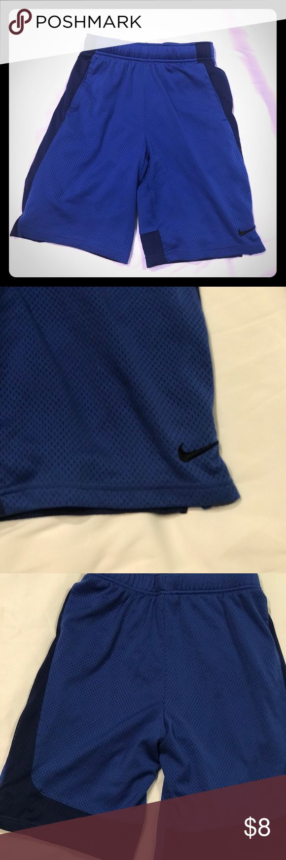 Two tone blue Boys Nike shorts Large Great condition with one very minor mini snag, pictured.   Would love to bundle for a better price! Nike Bottoms Shorts