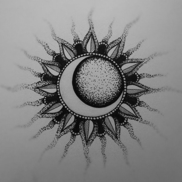 Sun and Moon by CatherineMonk on deviantART  ~ perfectly centered sun and moon would be great on the shoulders