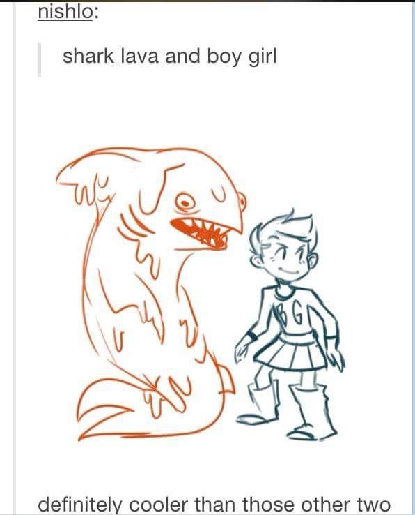 Shark lava and boy girl