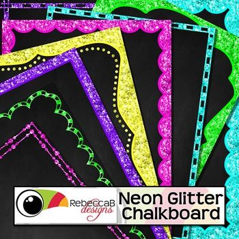 Neon Glitter Chalkboard contains 40 neon, glitter framed chalkboards in U.S. letter size.  Place text and clip art over the top to create fun product covers, worksheets, activities, posters and other teaching resources.  There are 8 designs in 5 neon, glitter colors.
