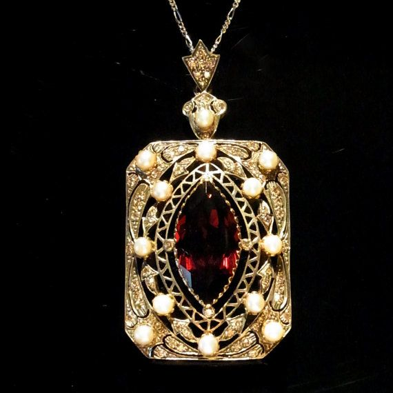 Large Vintage Diamond Pearl & Garnet Edwardian